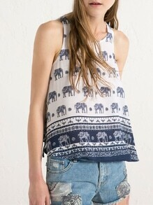 White Sleeveless Elephant Print Tank Top