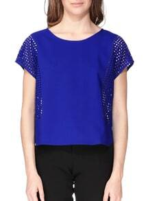 Blue Short Sleeve Hollow Blouse