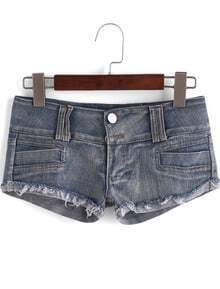 Blue Vintage Fringe Denim Shorts