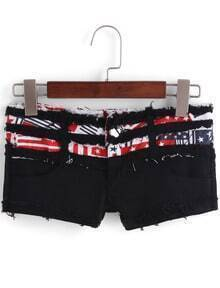 Black Fringe Stars Print Denim Shorts