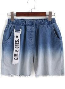 Blue Ombre Elastic Waist Denim Shorts