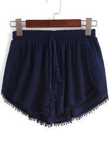 Navy Elastic Waist Peplum Trims Shorts