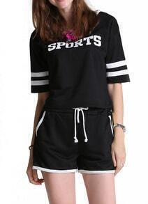 Black Short Sleeve SPORTS Print Top With Shorts