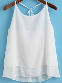 White Spaghetti Strap Double-layers Chiffon Cami Top