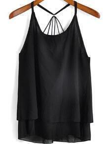 Black Spaghetti Strap Double-layers Chiffon Cami Top