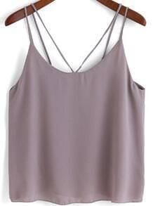 Grey Double Spaghetti Strap Chiffon Cami Top