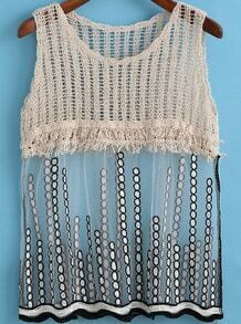 Apricot Sheer Mesh Sequined Tank Top