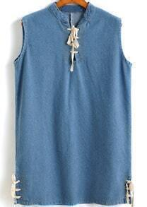 Blue Stand Collar Bandage Denim Tank Top