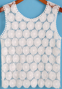 White Round Neck Floral Crochet Tank Top