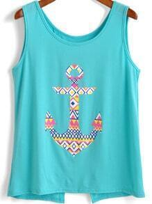 Turquoise Split Back Anchor Print Tank Top