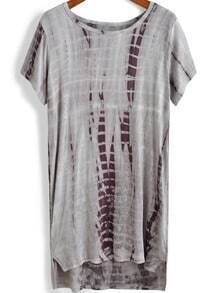 Grey Short Sleeve Dip Hem Loose T-Shirt