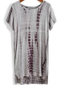Grey Short Sleeve Dip Hem Loose T-Shirt