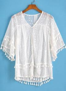 White V Neck Tassel Embroidered Blouse