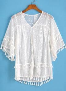 White V Neck Tassel Embroidered Blouse