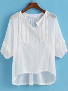 White Half Sleeve Lace Dip Hem Blouse