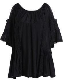 Black Off the Shoulder Lace Loose Blouse