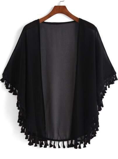 Black Casual Tassel Loose Kimono