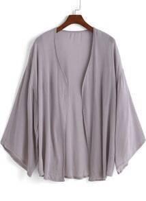 Grey Long Sleeve Loose Kimono