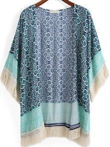 Green Tribal Print Tassel Loose Kimono