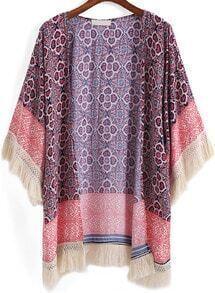 Red Tribal Print Tassel Loose Kimono