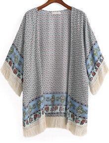 Blue Tribal Print Tassel Loose Kimono