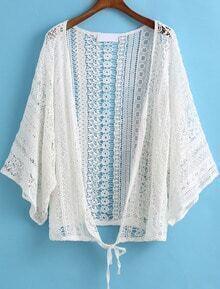 White Hollow Floral Crochet Lace Kimono