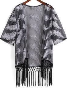 Black Feather Pattern Tassel Kimono