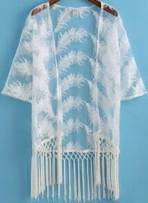 White Feather Pattern Tassel Kimono