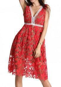 Red V Neck Floral Crochet Hollow Dress