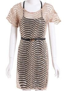 Gold Short Sleeve Sequined Hollow Two Pieces Dress