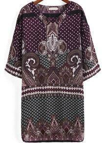 robe décontracté col v bohémien -violet