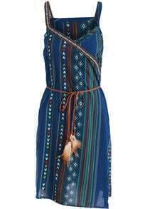 Blue Spaghetti Strap Tribal Print Dress