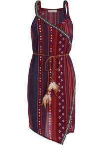 Red Spaghetti Strap Tribal Print Dress