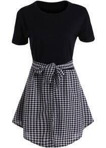 Black Short Sleeve Tie-waist Plaid Dress