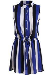 Blue Black Stand Collar Vertical Stripe Dress