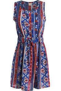 Blue Sleeveless Tie-waist Tribal Print Dress