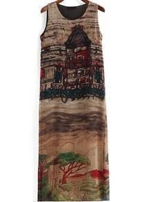 Brown Suede Sleeveless Vintage House Print Dress