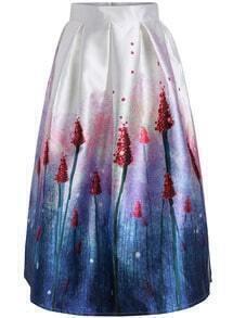 Purple High Waist Lavender Print Skirt