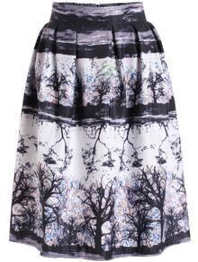 Black High Waist Floral Flare Midi Skirt
