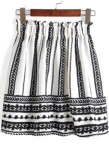 Black White Elastic Waist Tribal Print Skirt
