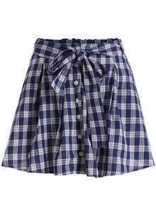 Blue Tie-waist Buttons Plaid Skirt
