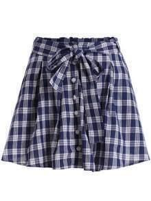 Blue Tie-waist Buttons Plaid Skirt