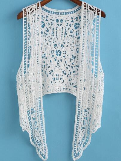 White Hollow Floral Crochet Vest