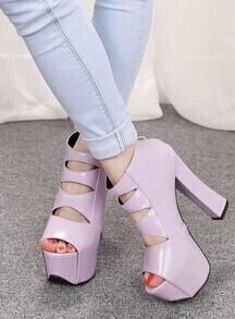 Purple Hollow High Heel Sandals