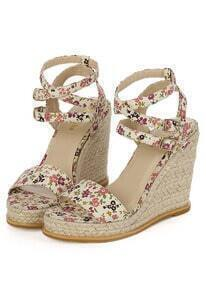 Red Buckle Floral Wedge Sandals