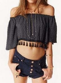 Black Boat Neck Tassel Crop Top