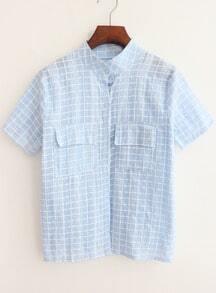 chemise plaid avec poches -bleu