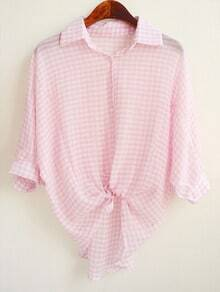 Pink Lapel Plaid Loose Chiffon Blouse