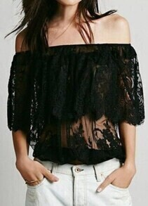 Black Off the Shoulder Sheer Lace Blouse