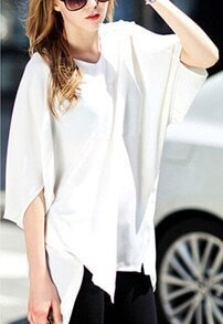 White V Neck Batwing Sleeve Dip Hem Blouse